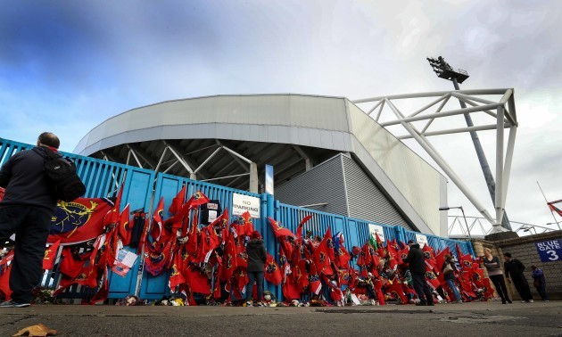 Tributes are paid to Anthony Foley outside Thomond Park