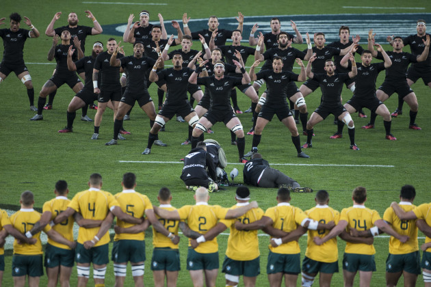 A view of the haka before the game