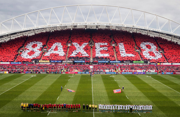 A view of Thomond Park as the two teams stand for a minutes silence in memory of Anthony Foley