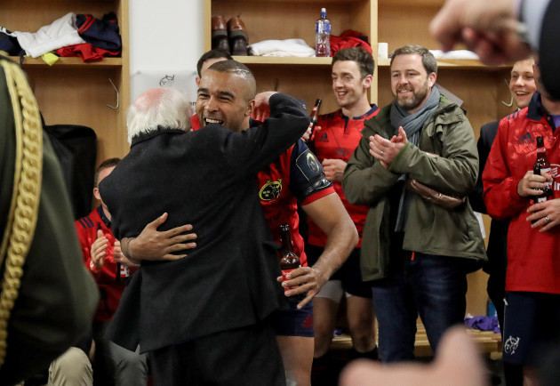 Simon Zebo with Michael D. Higgins