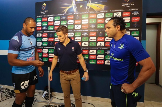Montpellier's captain Akapusi Qera with referee Luke Pearse and Leinster's captain Isa Nacewa at the coin toss