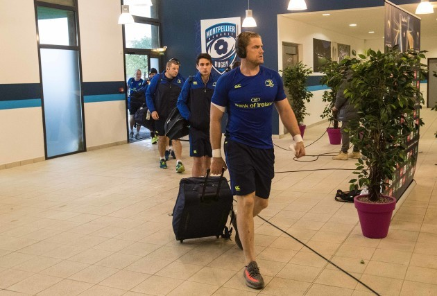 Leinster's Jamie Heaslip arrives for the match