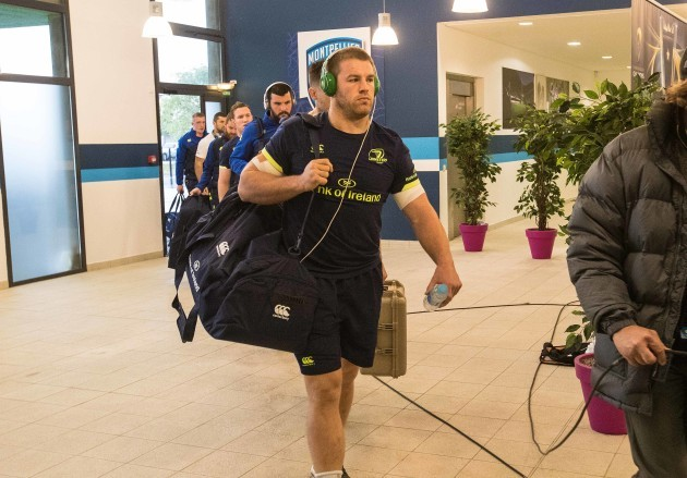 Leinster's Sean O'Brien arrives for the match