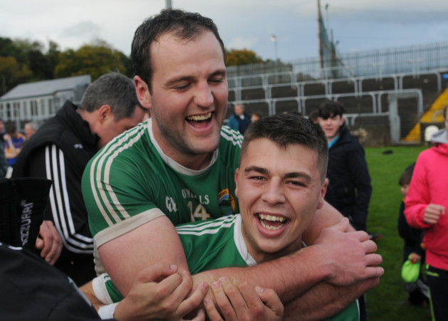 Michael Murphy and Oisin Crawford celebrate at the final whistle