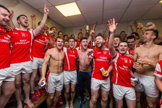 Cuala celebrate winning Dublin Senior Hurling Championship in the dressing rooms after the game