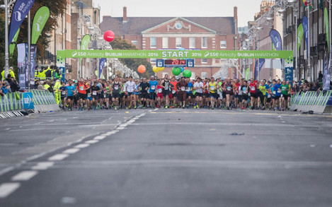 A view of the start of the Dublin Marathon
