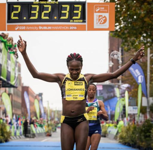 Helalia Johannes from Nambia wins the Women's Dublin Marathon