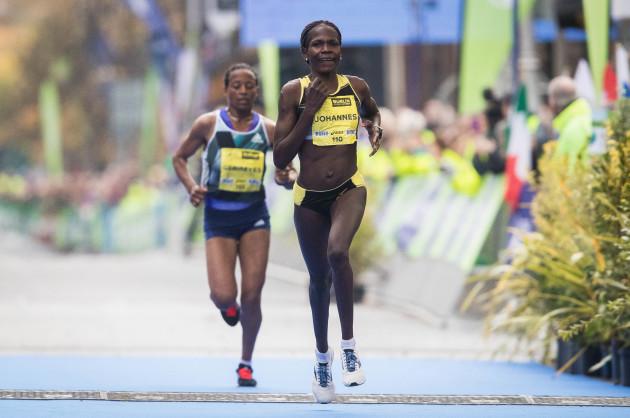 Helalia Johannes from Nambia on her way to winning the Women's Dublin Marathon
