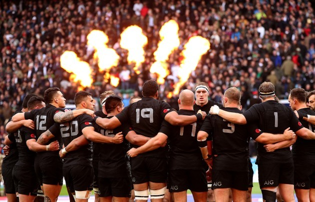 England vs New Zealand All Blacks The All Blacks huddle before the game