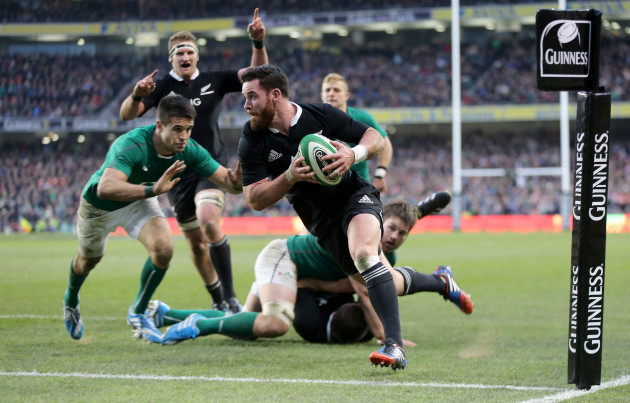 Ryan Crotty crosses the line to score the last try of the game