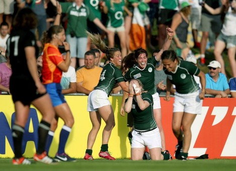 Ashleigh Baxter, Nora Stapleton and Niamh Briggs celebrate at the final whistle