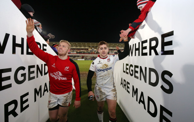 Stuart Olding and Paddy Jackson celebrate winning