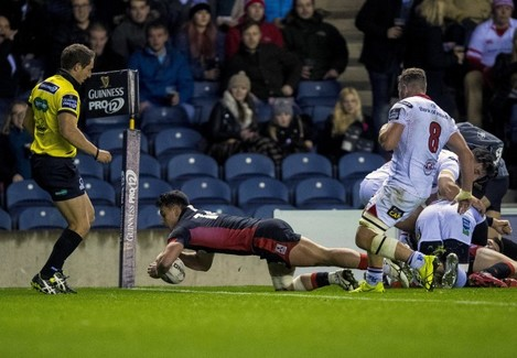 Damien Hoyland scores a try