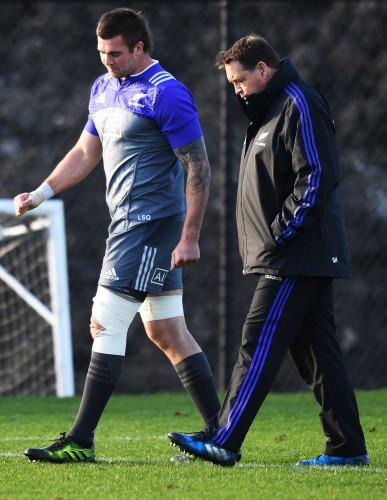 Liam Squire with head coach Steve Hansen