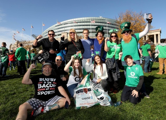 Fans before the match outside Soldier Field