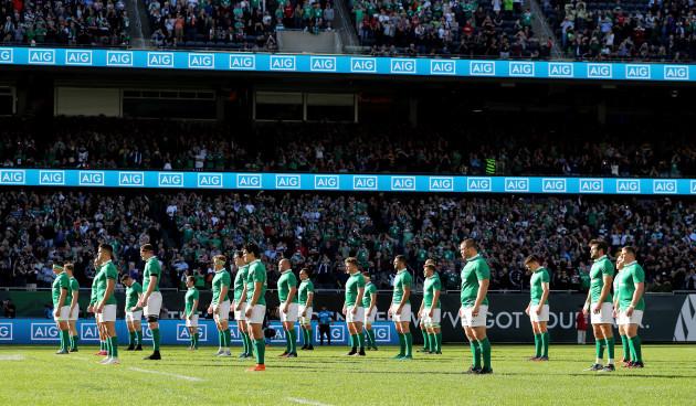 The Ireland team during the Haka