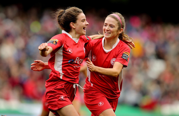 Leanne Kiernan celebrates scoring with Siobhan Killeen