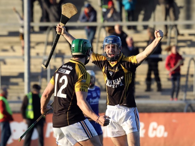 Cathal Doohan and Stan Lineen celebrate at the final whistle