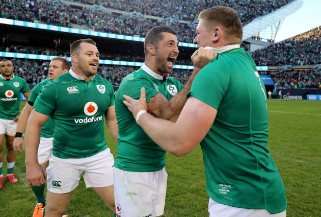 Rob Kearney and Tadhg Furlong celebrate winning