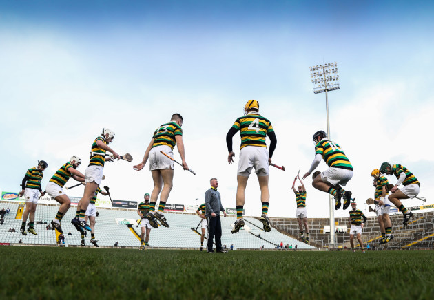 Glen Rovers warm up before the game