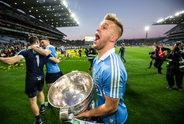 Jonny Cooper celebrates with the Sam Maguire cup