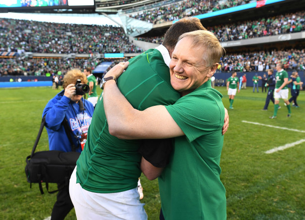 Joe Schmidt celebrates winning with Donnacha Ryan