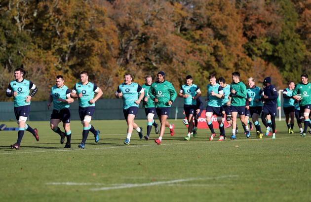 The Irish team lead by Peter O'Mahony