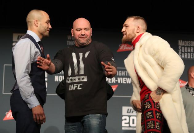 Eddie Alvarez, UFC President Dana White and Conor McGregor