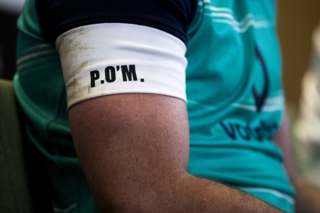 A view of Peter O'Mahony's initials on his training top