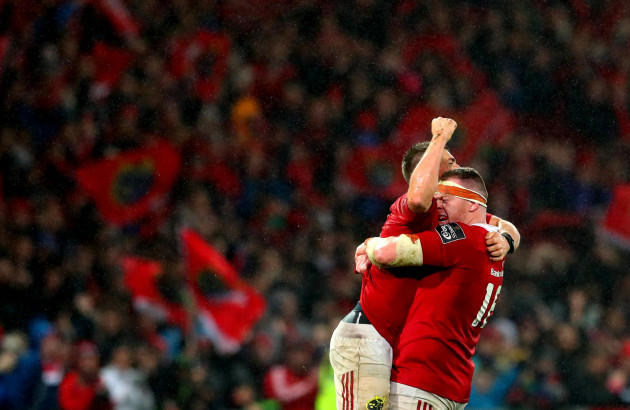 Ian Keatley and Brian Scott celebrate