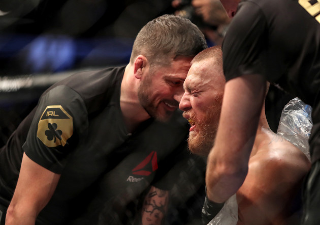 Conor McGregor with John Kavanagh between rounds