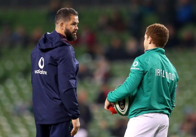 Andy Farrell talks to Paddy Jackson during the warm up