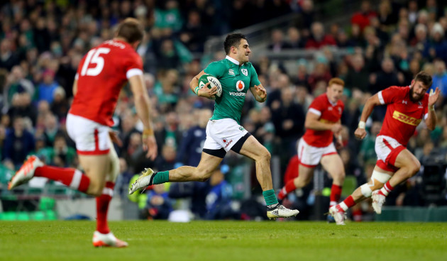 Tiernan O'Halloran breaks free to scores his sides third try