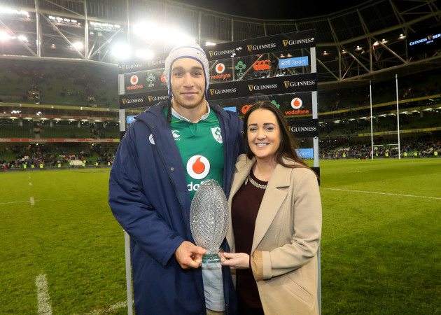 Ultan Dillane presented with the man of the match award by Gemma Bell