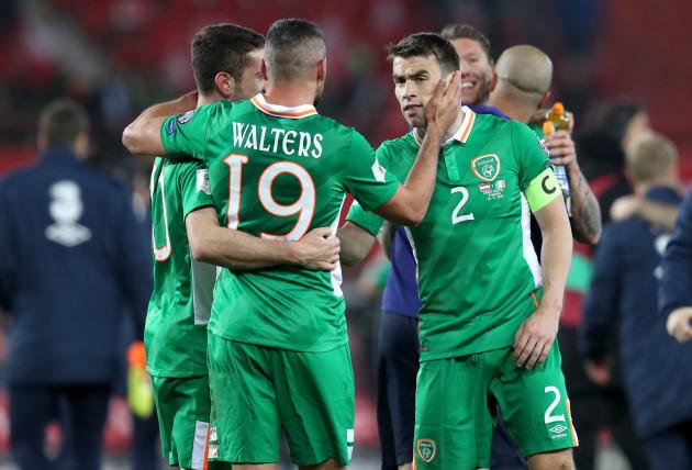 Robbie Brady, John Walters and Seamus Coleman celebrate the win