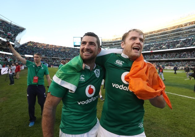 Rob Kearney and Jamie Heaslip celebrate winning