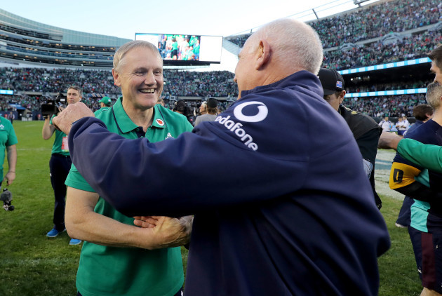 Joe Schmidt and Mick Kearney celebrate winning