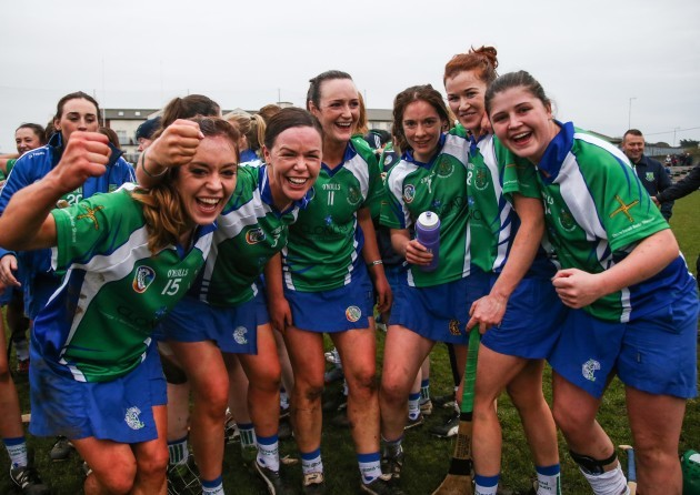 Aisling Holton, Eimear Hurley, Siobhan Hurley, Jane O'Donoghue, Louise Codd and Miriam Murphy celebrate at the end of the game
