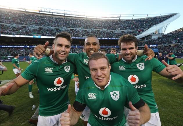Conor Murray, Simon Zebo, Jared Payne and Sean Cronin celebrate winning