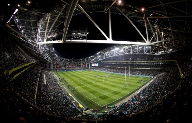 A general view the Aviva Stadium as the two teams play 12/11//2016