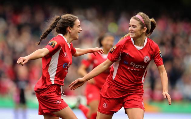 Leanne Kiernan celebrates scoring with Siobhan Killeen