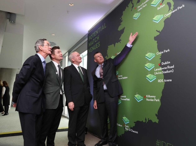 Dick Spring, Brian O'Driscoll, Martin McGuinness and Philip Browne