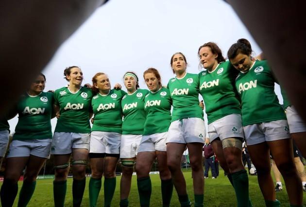IrelandÕs captain Paula Fitzpatrick talks to the team after the match
