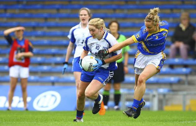 Maria Delahunty in action against Samantha Lambert