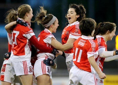 Niamh Callan celebrates with her teammates at the final whistle