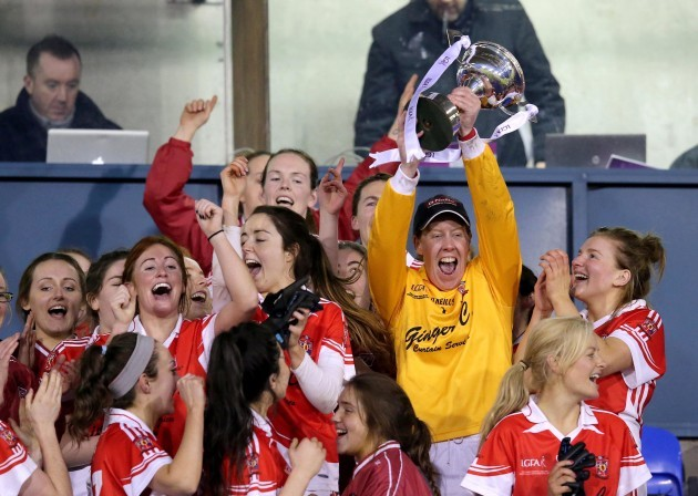 Linda Martin celebrates with the trophy