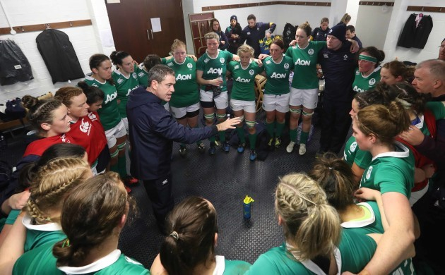 Ireland team in the changing room with head coach Tom Tierney
