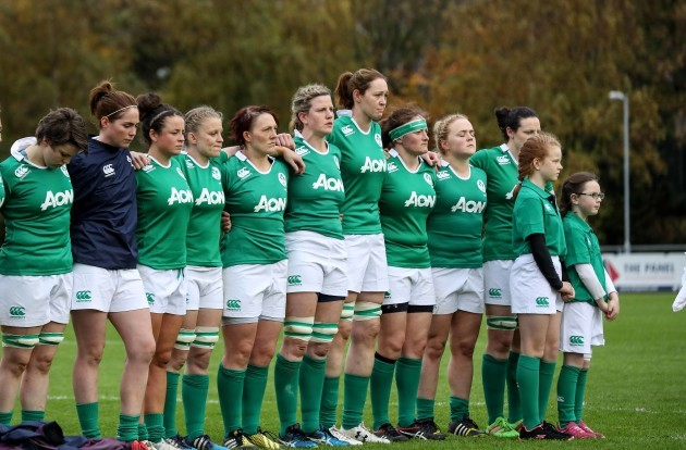 Ireland team line up of the national anthems