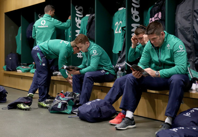Ireland players in the changing room before the game