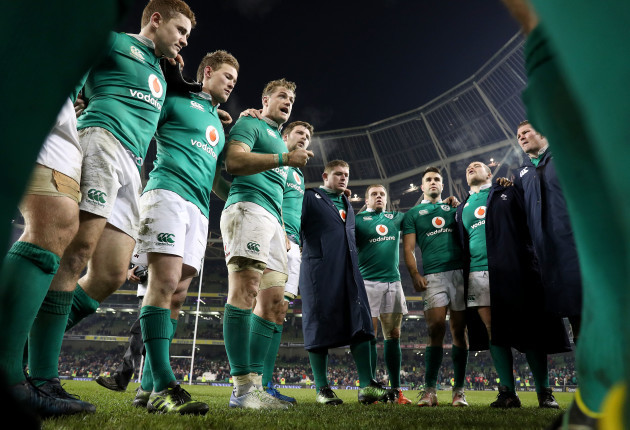 Jamie Heaslip speaks to his team after the game